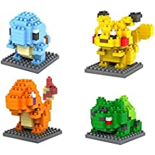 Pokemon Building Blocks - 4 caratteri Micro nano -Diamond- minifigure Brick Set - Giocattoli per bambini di DIY monta ( Pikachu , Charmander , Squirtle , Bulbasaur - Go Go Animali Set