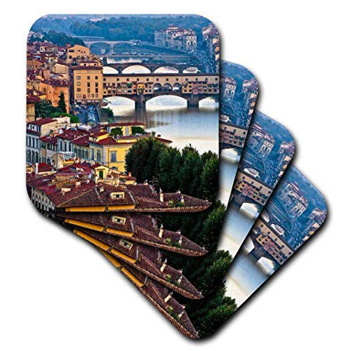3dRose Italy, Florence, River View of The City Ceramic Tile Coasters