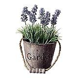 Künstliche Topfpflanze, künstliche lila Lavendelpflanze im Holzeimer für Zuhause, Büro, Schreibtisch, Restaurant, Vintage, Hochzeit, Party-Dekorationen