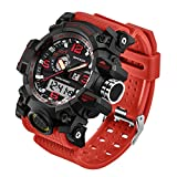 Taffstyle Herren Sportuhr Armbanduhr Silikon Sport Watch mit Licht Alarm Stoppfunktion Chronograph Digital Quarz Flieger Uhr Rot