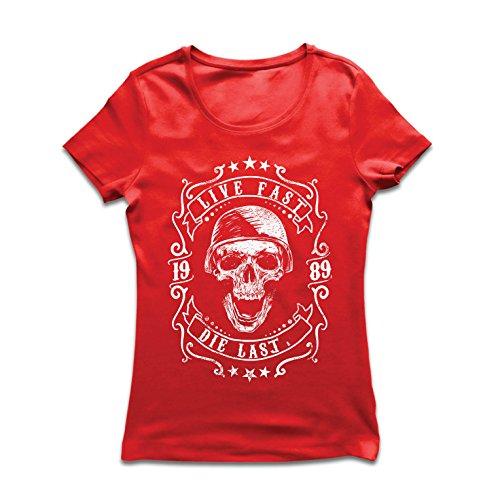 Maglietta Donna vivi Veloce - muori L'Ultimo - Citazioni in Bici, Abbigliamento Moto, Amore da Guidare, Ottimo Regalo per Motociclista (Large Rosso