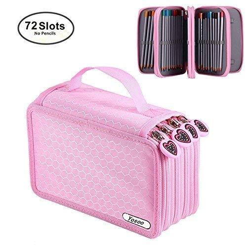 Astuccio portamatite per 72 matite portapenne astuccio 4 strati portamatite caso, senza matita utilissimo astuccio per la scuola (rosa)