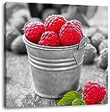 Früchte Eimer Obst Fruit food schwarz/weiß, Format: 60x60 als Leinwandbild, tolle Bilder fertig auf Holzrahmen gespannt, Kunstdruck auf Wandbild mit Rahmen, günstiger als Gemälde oder Ölbild, kein Poster oder Plakat