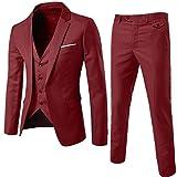 TT Global Herren Mode Casual Anzug 3-Teilig Slim Fit Anzugsjacke Anzugsweste Anzugshose EIN knopf Muster 9 Farben