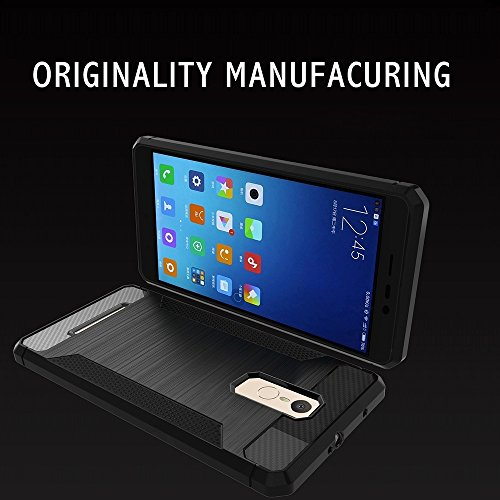 Solid Color Brushed Texture Carbon Fiber Anti-Rutsch TPU Schutzhülle Case Xiaomi Redmi Hinweis 3 by diebelleu ( Color : Transparent ) Black