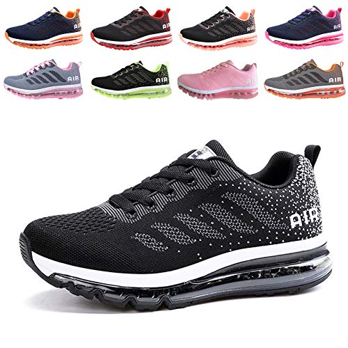 populalar Herren Damen Turnschuhe Laufschuhe Sportschuhe Straßenlaufschuhe Sneakers Atmungsaktiv Trainer Running Fitness Gym Outdoor Leichte Black White 43