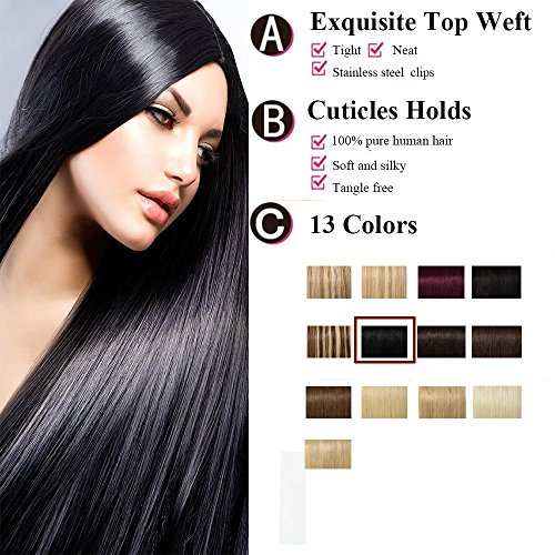 Extension a Clip Cheveux Naturel Noir [8 Pièces 18 Clips] Pose & Dépose Facile [16\\