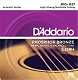 D\'Addario Cordes en bronze phosphoreux pour guitare acoustique D\'Addario EJ38H, accordage High Strung/Nashville, 10-27