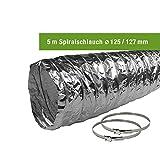 EASYTEC® Abluftschlauch Ø 150 mm/Ø 125 mm verschiedene Längen mit Schlauchschellen/Spiralschlauch/Aluschlauch/Schlauch/152 mm/127 mm (Ø 125 mm/Länge 5 Meter mit 2 Schellen)