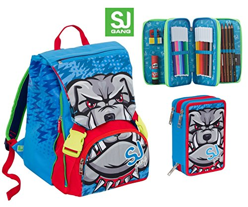 Zaino scuola sdoppiabile SJ BOY ANIMALI - Blu Rosso - + Astuccio 3 zip - FLIP SYSTEM - 28 LT elementari e medie 3 pattine sfogliabili