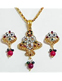 DollsofIndia Multicolor Stone Studded Pendant With Chain And Earrings - Stone And Metal (FS09-mod) - Multicolor