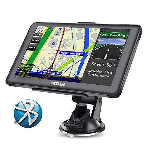 AWESAFE GPS para Coche de 7 Pulgadas Pantalla con Bluetooth, Gratis de...