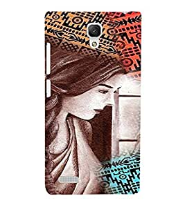 PrintVisa Stylish Cool Girl Colorful 3D Hard Polycarbonate Designer Back Case Cover for Xiaomi Redmi Note Prime