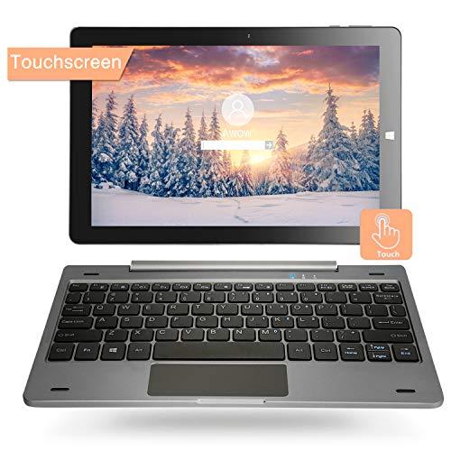 10.1\'\' Windows 10 Home Tablet PC 2-in-1 Touchscreen Mini Laptop mit Abnehmbarer Tastatur(Intel Quad Core,4GB RAM 64GB ROM Verbindung WLAN ,Bluetooth, IPS Display ,HDMI, USB, Dual Kamera (QWERY)