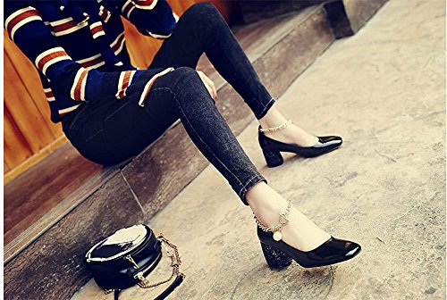 NobS Chunky Heel Metal Chain Boucle de perle Square Toe Mary Janes Chaussures pour femmes Black