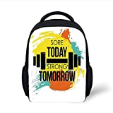 Kids School Backpack Fitness,Sore Today Strong Tomorrow Gym Quote Typography Colorful...