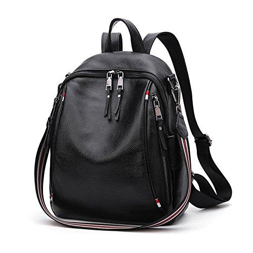 MJY Benutzerdefinierte Leder Damen Umhängetasche Multifunktionale Dienstprogramm Rucksack Mode Reisetasche Leder Handtaschen,Schwarz,A - Benutzerdefinierte Handtaschen Aus Leder