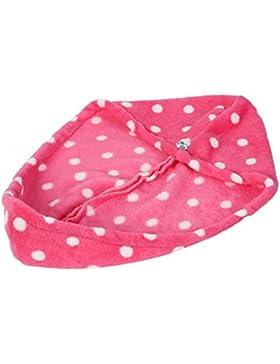 sourcingmap® Mikrofaser Lady Punkt Bedruckt Schlaufe Knopf Dry Handtuch Kopfband Kappe Hut