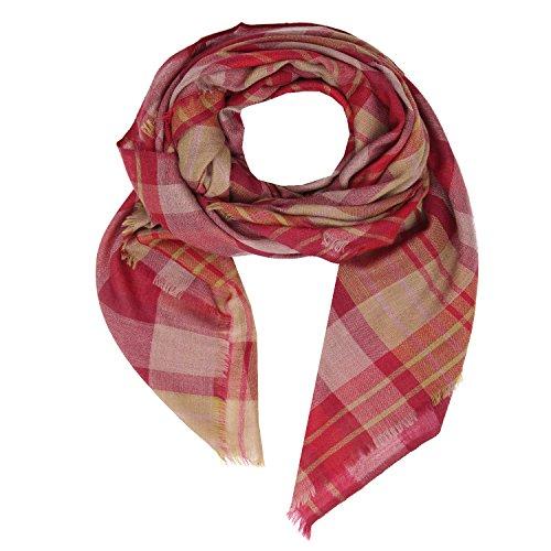 KASHFAB Kashmir Frauen Herren Winter Mode Streifen Schal, Wolle Seide stole, Weich Lange Schal, Warm Paschmina Braun Rot (Maulbeere-seide-stoff)