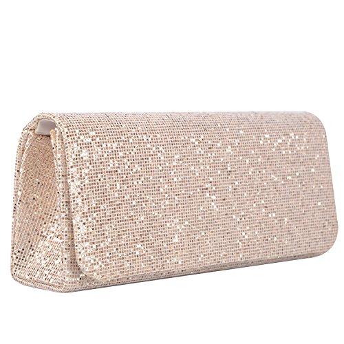 Lifewish Frauen Spark Glitter Abend Clutch Bag, Party Handtasche Braut Geldbörse Hochzeit Tasche Clutch Bag?Champagner? (Braut-damen Handtasche)