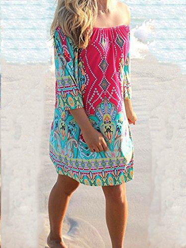 LaoZan Damen Lange Ärmel Druck Tunika Strandkleid Minikleid Vintage Bohemian Kleider Rose