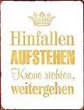 1art1 98599 Motivation - Hinfallen Aufstehen Krone Richten Weitergehen Poster Blechschild 35 x 26 cm