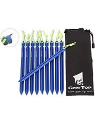 GEERTOP Estacas Piquetas de 10 de Aluminio de 18cm para Tienda de Campaña y Cuerdas Reflectantes y Bolsa de Transporte Para Tiendas de Campaña Camping al Aire Libre (Azul)