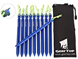 GEERTOP Zeltheringen Heringe Aluminium Leichtgewichtige 10 Stck 18cm mit Reflektierender Abspannseile & Tasche für Wandern Bergsteigen Camping (Blau)