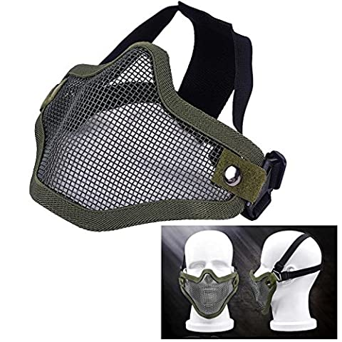 Itian Airsoft Metal Mesh Mask Half Face Guard Tactical Military CS Shooting Paintball Mask BB Gun Safety Protection Pinhole Mask -for Outdoor Activities, Cycling, War Game Battle (Army