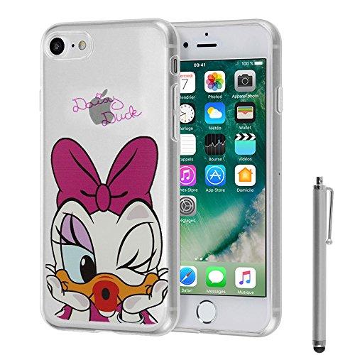 VCOMP® Transparente Silikon TPU Handy Schutzhülle mit Motiv Cartoon Disney für Apple iPhone 5/ 5S/ SE - Winnie the Pooh Daisy Duck + Großer Eingabestift