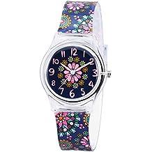 Montre Enfant Garcon Fille Pedagogique Zeiger Mouvement Quartz Analogique Caoutchouc Bracelet Multicolor (Violet Stars)