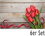 matches21 Tischset Platzset Sommer MOTIV Strauß rote Tulpen auf Holz 6 Stk. Kunststoff abwaschbar je 43,5x28,5 cm