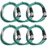 "Seismic Audio Seismic 6 Pack Green 1/4"" TRS XLR Male 6' Patch Cables Green - SATRXL-M6Green6"
