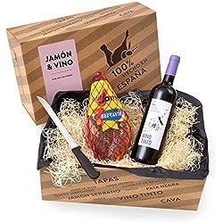 """Delikatessen-Präsentkorb """"Jamón y Vino"""" mit Serrano-Schinken & Rotwein aus Spanien - Verpackt in der spanischen Geschenk-Box inklusive Schinkenmesser"""