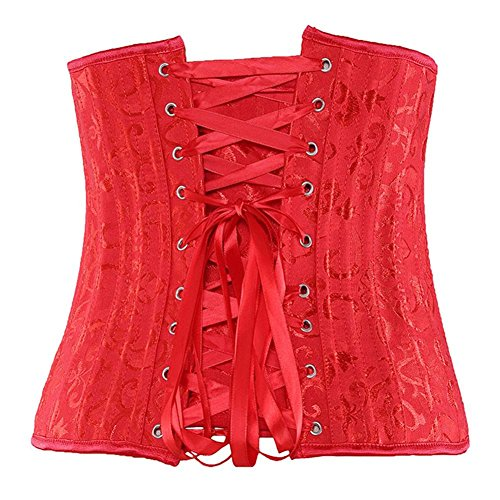 Firm Control Tummy Slimmer Corset Boned Lace up Stereotypes Vita in plastica Body Cincher Red