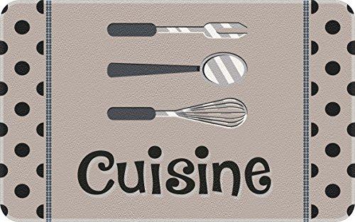 ID Mat Decor Cuisine Pois, Fibres Synthétiques, Gris, 50x80x0,4 cm