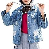 Oudan Jacke Frauen Gefälschte Zwei Stücke Mit Langen Ärmeln Stickerei Mit Kapuze Jeansjacke mit Löchern (Farbe, Größe : X-Large)