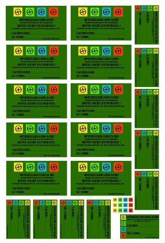 Top Angebot - 23 Geocaching Aufkleber auf weißer Vinylfolie ! 1 ganzer Bogen für Filmdosen und ALLE Petlinge und LOCK&LOCK Dosen - Gps-lock