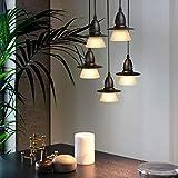 GBLY Pendellampe E27 Moderne 5 Flammige Hängeleuchte Höhenverstellbar Esstischlampe Schwarz Innen Deckenbeleuchtung für Esszimmer, Wohnzimmer, Küche, Restaurant, Café, Ohne Birne