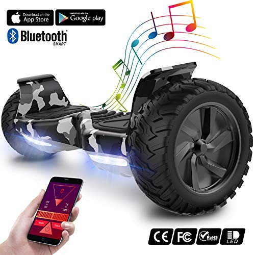 GEEKME Elektro Scooter All Terrain Self Balancing Scooter mit leistungsstarker LED-Motorbeleuchtung Bluetooth-App für Erwachsene und Kinder 8,5 Zoll