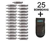 Outletdelocio. 25 bombonas co2 12gr. Umarex/Gamo/ASG para Pistolas y carabinas + Exclusiva Funda portabombonas