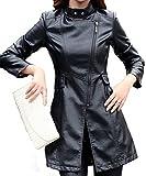 Helan Damen Dünner PU-Leder-lange Mantel-Lederjacke Schwarz EU 42