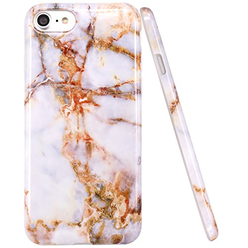 iPhone 6 Hülle, iPhone 6S Hülle, JIAXIUFEN Shiny Rose Gold Gray Marmor Design Soft TPU Silikon Schutz Handy Hülle Handytasche HandyHülle Case Cover Tasche Schutzhülle für iPhone 6 Braun Grau