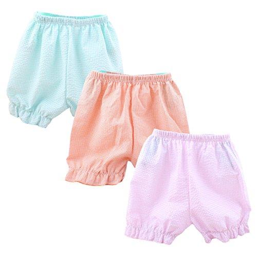 Packung mit 3 Stück Hikfly Baby Girls Bio Baumwoll Blasen Shorts für kühlen Sommer (Gitter)