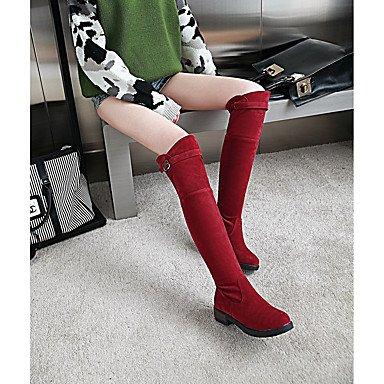 Rtry Femmes Chaussures Similicuir Automne Hiver Slouch Bottes Bottes Bout Rond Sur Genou Bottes Boucle Pour Casual Wear Rouge Noir Beige Us6.5-7 / Eu37 / Uk4.5-5 / Cn37