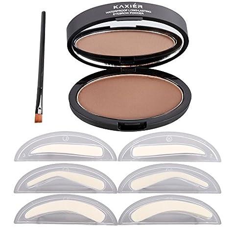 Weisy Eyebrow Powder Stempel Wasserdichtes Augenbrauenpuder mit Augenbrauen Schablonen Werkzeuge mit 3 Augenbrauen (Augenbraue-formen Stencils)