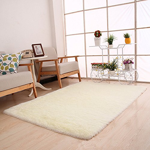 Flauschige Teppiche Anti Skid Shaggy Bereich Teppich Esszimmer Home Schlafzimmer Teppichboden Matte Wenn Sie Yoga oder Baby spielen, wenn Sie eine solche Matte brauchen (Weiß) (Sport-teppich Vintage)
