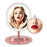 ANJOU Beleuchteter Make up Spiegel, aufladbarer kabelloser LED Kosmetikspiegel mit abnehmbarem 5X vergrößerndem Spiegel, 120° Rotation inklusive Reinigungstuch, Rosegold