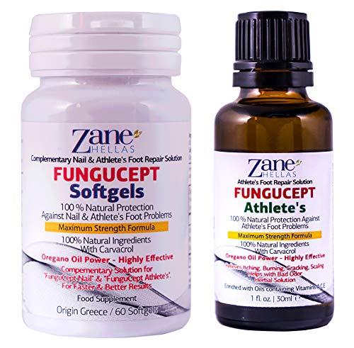 FunguCept Advanced Repair Solution. Producto para los cuidados del pie 100% natural. Resultados más rápidos y mejores. 1 oz - 30 ml de AthleteŽs, con 60 cápsulas 108 mg de carvacrol de Zane Hellas