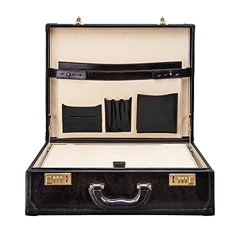 Maxwell Scott® Luxury Italian Leather Men's Attache Case Briefcase (Buroni), Night Black